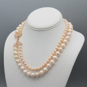 Pink freshwater pearl necklace bow rose